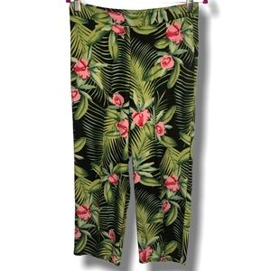 BEECHERS BROOK FLORAL 100% RAYON CAPRI PANTS SZ M